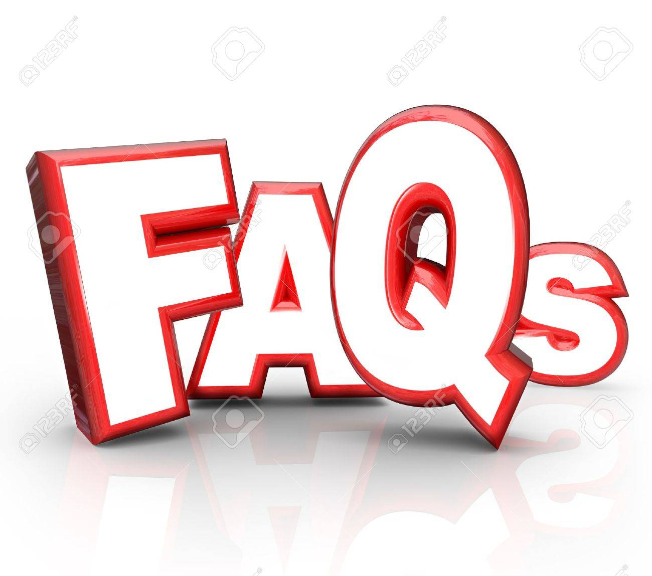 The letters FAQs standing for Frequently Asked Questions in 3D lettering representing question and answer period or forum to get you the solution and help you need for a problem or confusion Stock Photo - 13031170