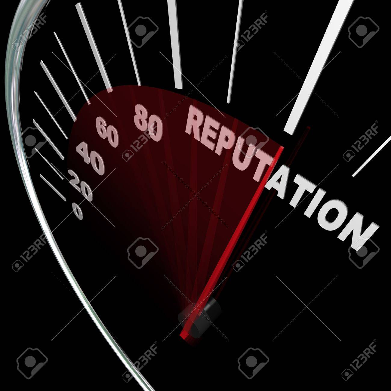 A speedometer with needle racing to the word Reputation symbolizing an improving credibility level and the respect and trust people place in your opinions and knowledge on a subject Stock Photo - 13296813