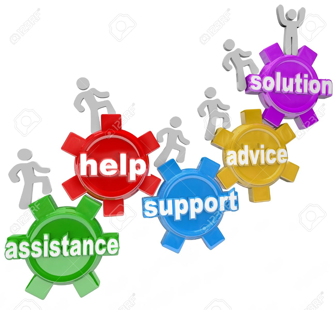 Several people rising on gears helping each other to achieve success and reach a solution through assistance, help, support and service, representing teamwork needed to achieve a goal Stock Photo - 13406053