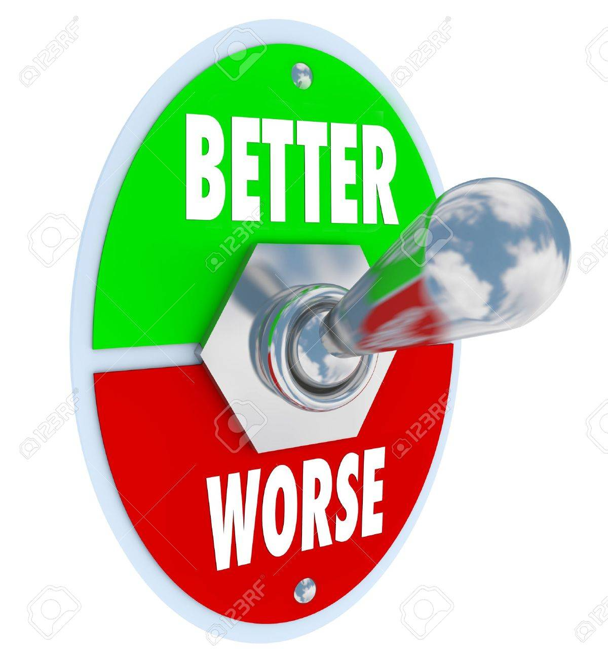 A metal toggle switch with plate reading Better and Worse, with the lever flipped to improve or recover your health and make improvements Stock Photo - 13470956