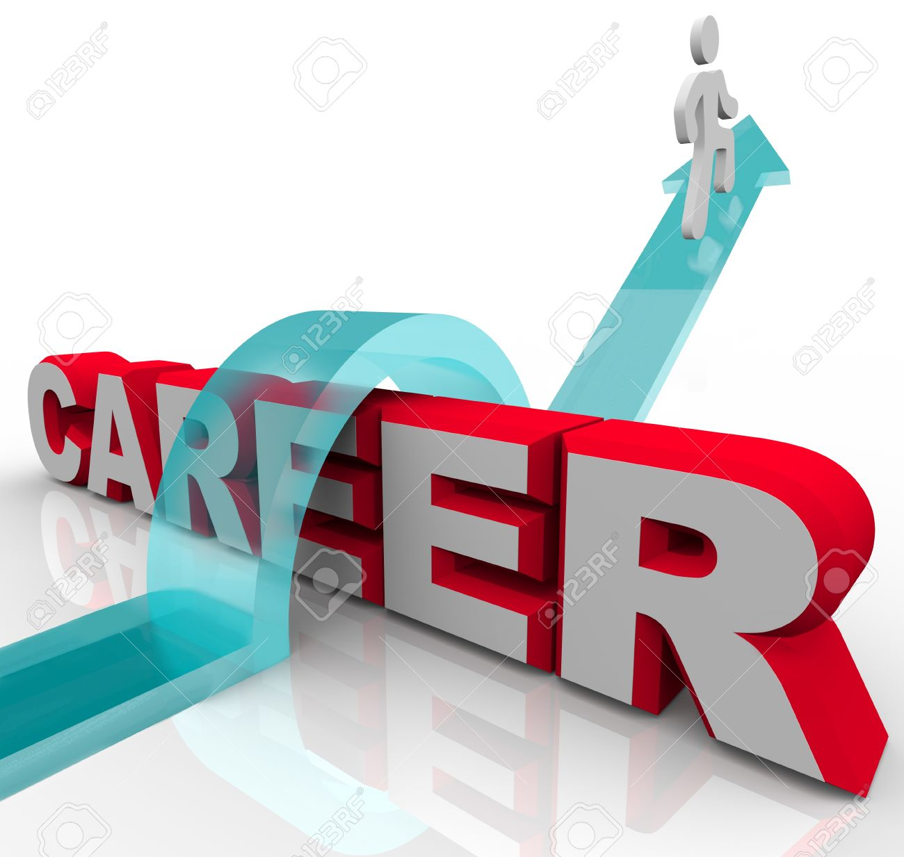 a man jumps the word career on an arrow representing a job or a man jumps the word career on an arrow representing a job or promotion opportunity and