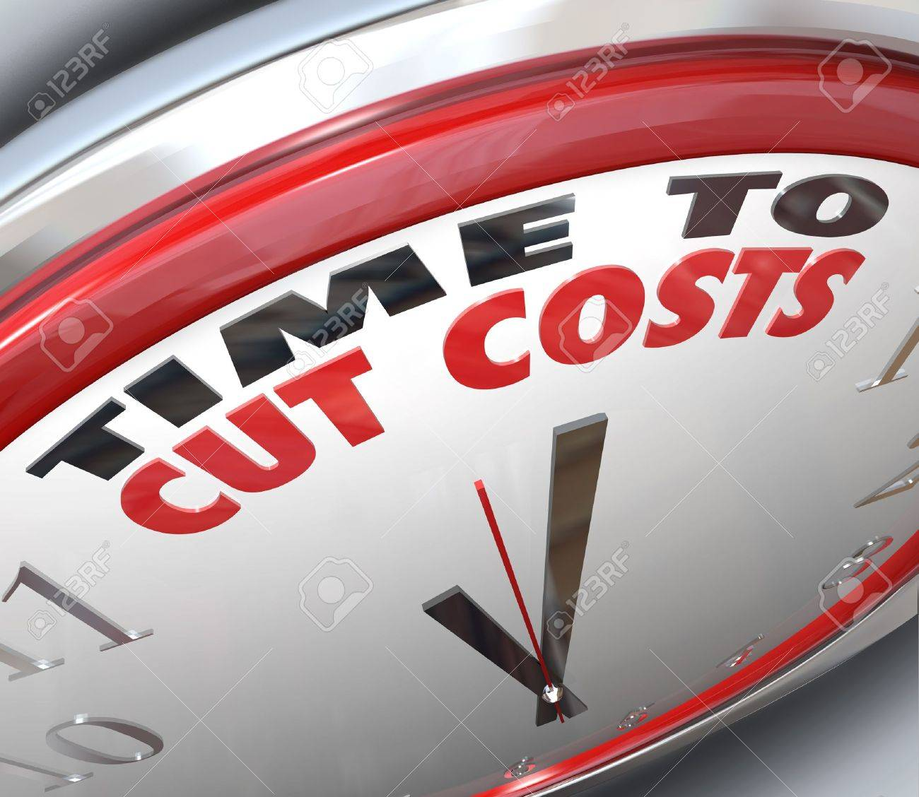 Watch your spending and reduce your overhead by paying attention to this clock telling you it is Time to Cut Costs and get your budget in order before you are in debt or bankrupt - 13562438