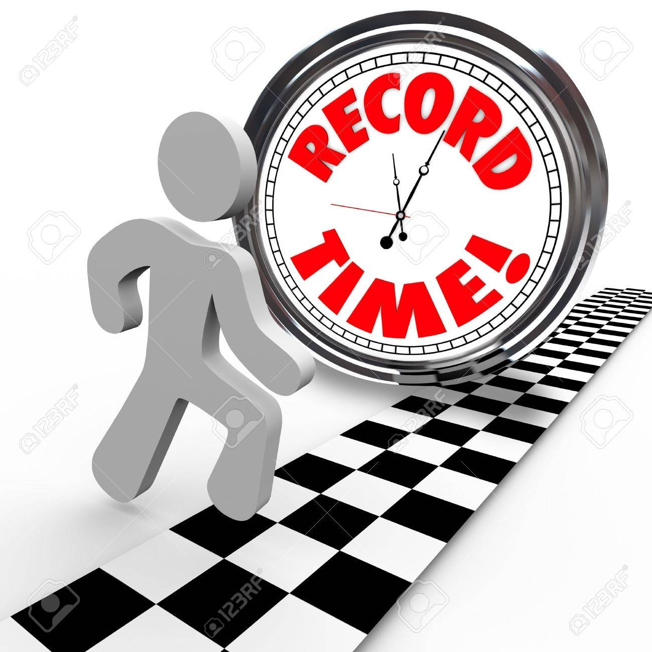 The words Record Time on a clock with a person reaching the finish line to achieve or accomplish a new personal best timing in completing a race or objective Stock Photo - 13749653