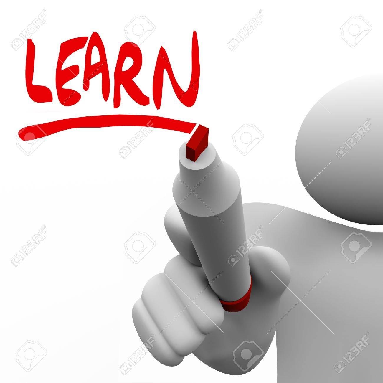 Ein Lehrer Oder Führer Schreibt Das Wort Lernen, Seine Klasse Oder ...