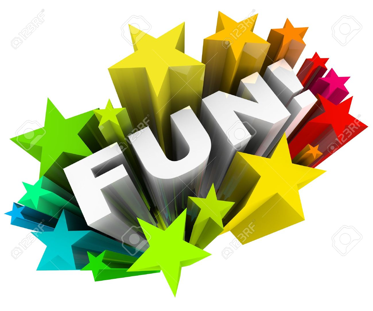 the word fun in a burst of colorful stars representing an amusing
