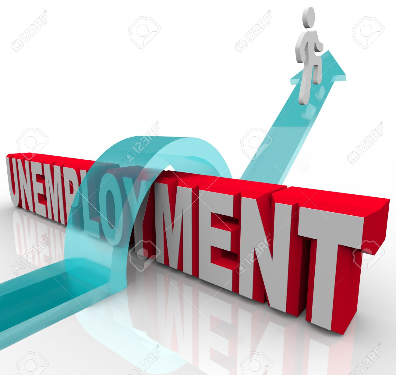 a person rises on an arrow over the word unemployment symbolizing a person rises on an arrow over the word unemployment symbolizing finding another job