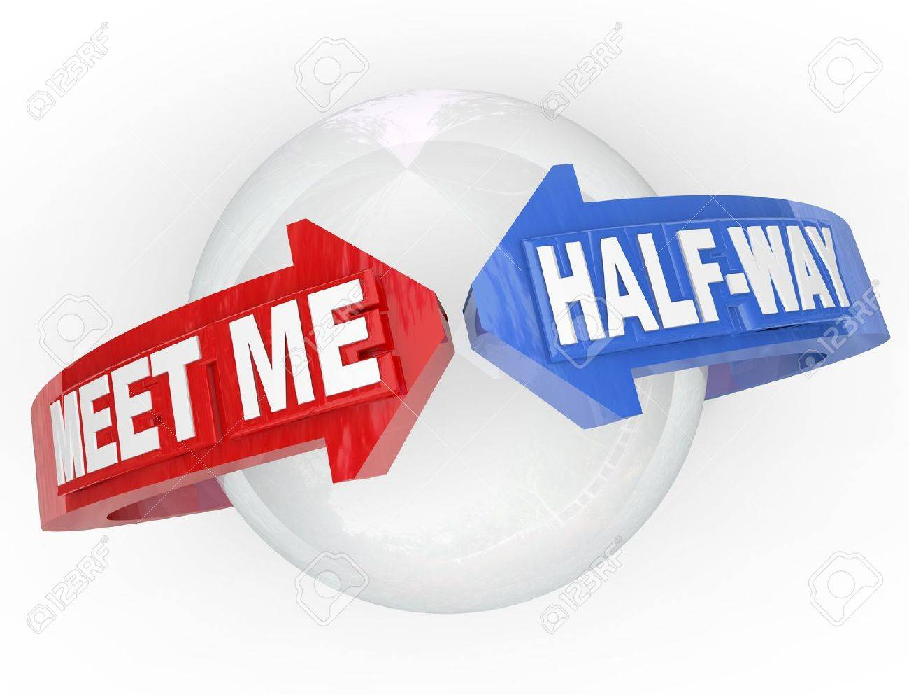 Two arrows with the words Meet Me Half-Way around a sphere, representing a compromise, settlement, peace, truce or other agreement resolving a dispute Stock Photo - 14086934