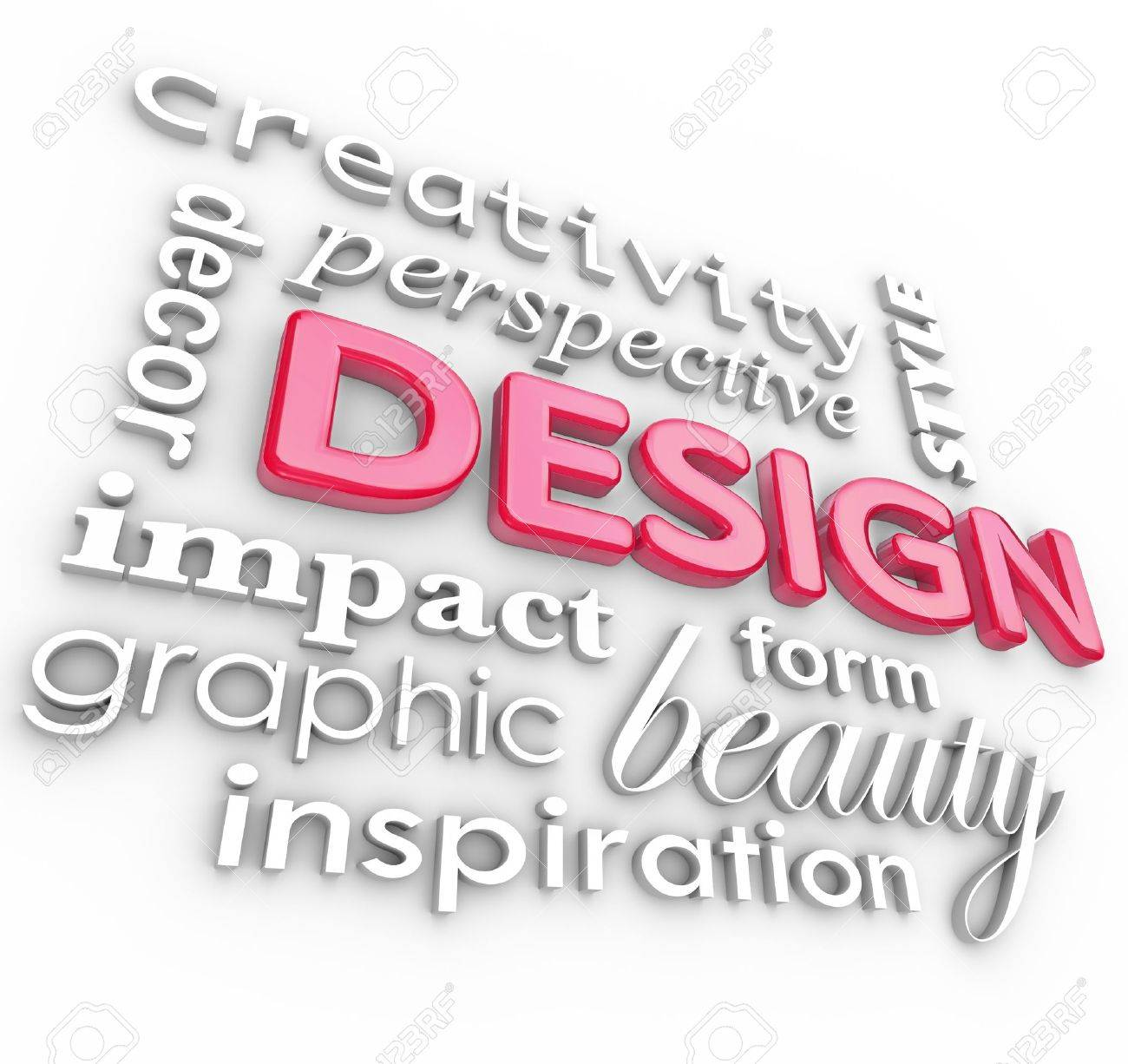 The word Design and related words in a collage representing creativity, beauty, inspiration, style, perspective and graphic designers, elements of an artistic profession Stock Photo - 14363412
