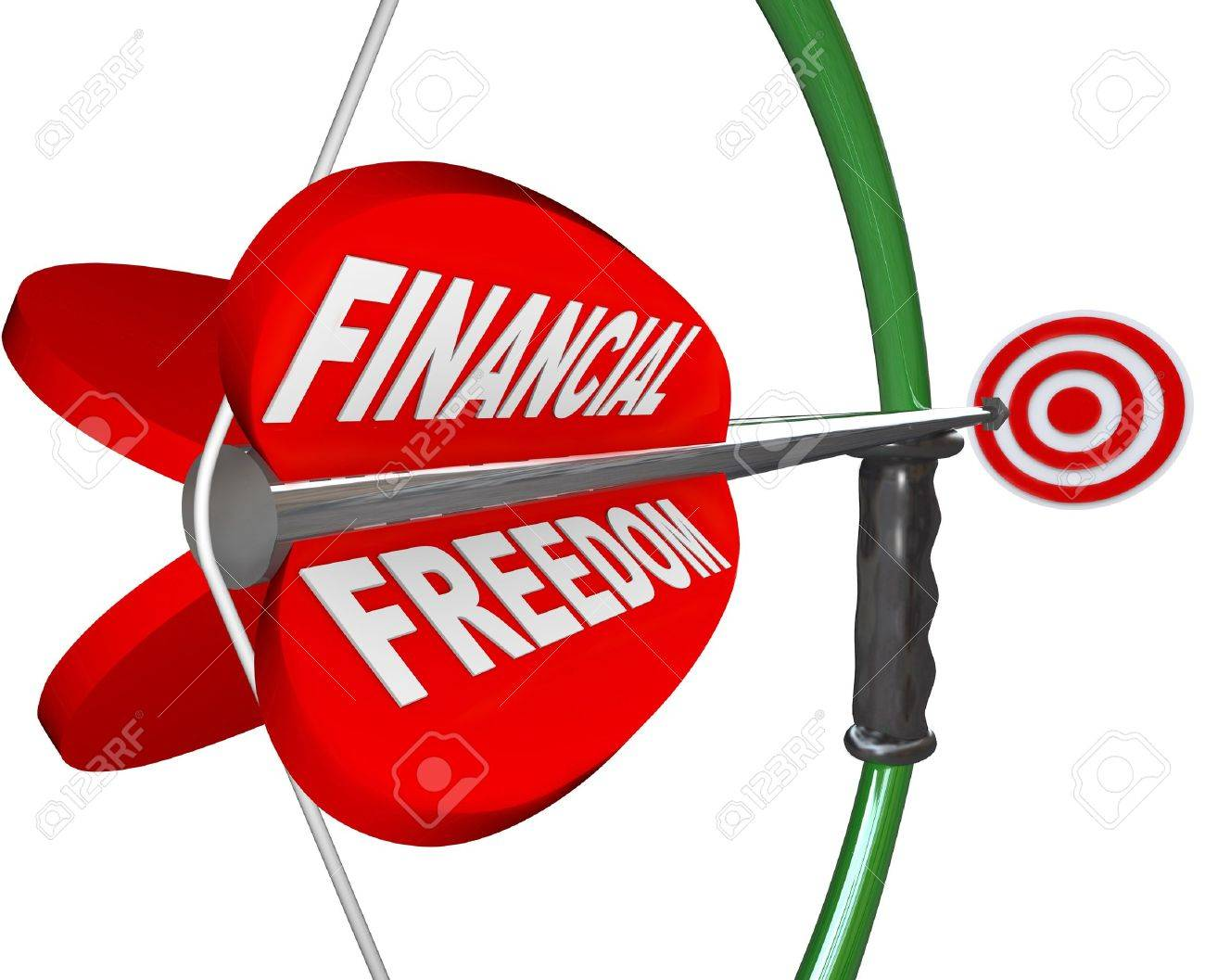 An arrow reading Financial Freedom is aimed with a bow at a bulls-eye targeting wealth, independence in finances, economic security and comfortable retirement Stock Photo - 14461378