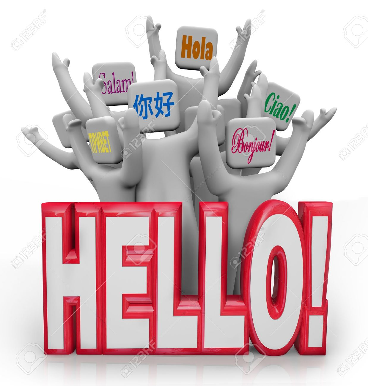 Several people greet each other with the word Hello spoken in different international languages from around the world, with the words ciao, bonjour, hola and more Stock Photo - 14507888