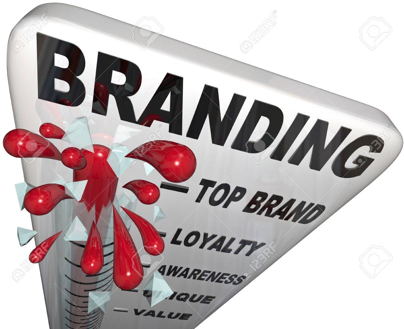 The word Branding on a thermometer measuring your brand loyalty, identity, reputation, credibility, awareness, perception and overall success in your market Stock Photo - 14692384
