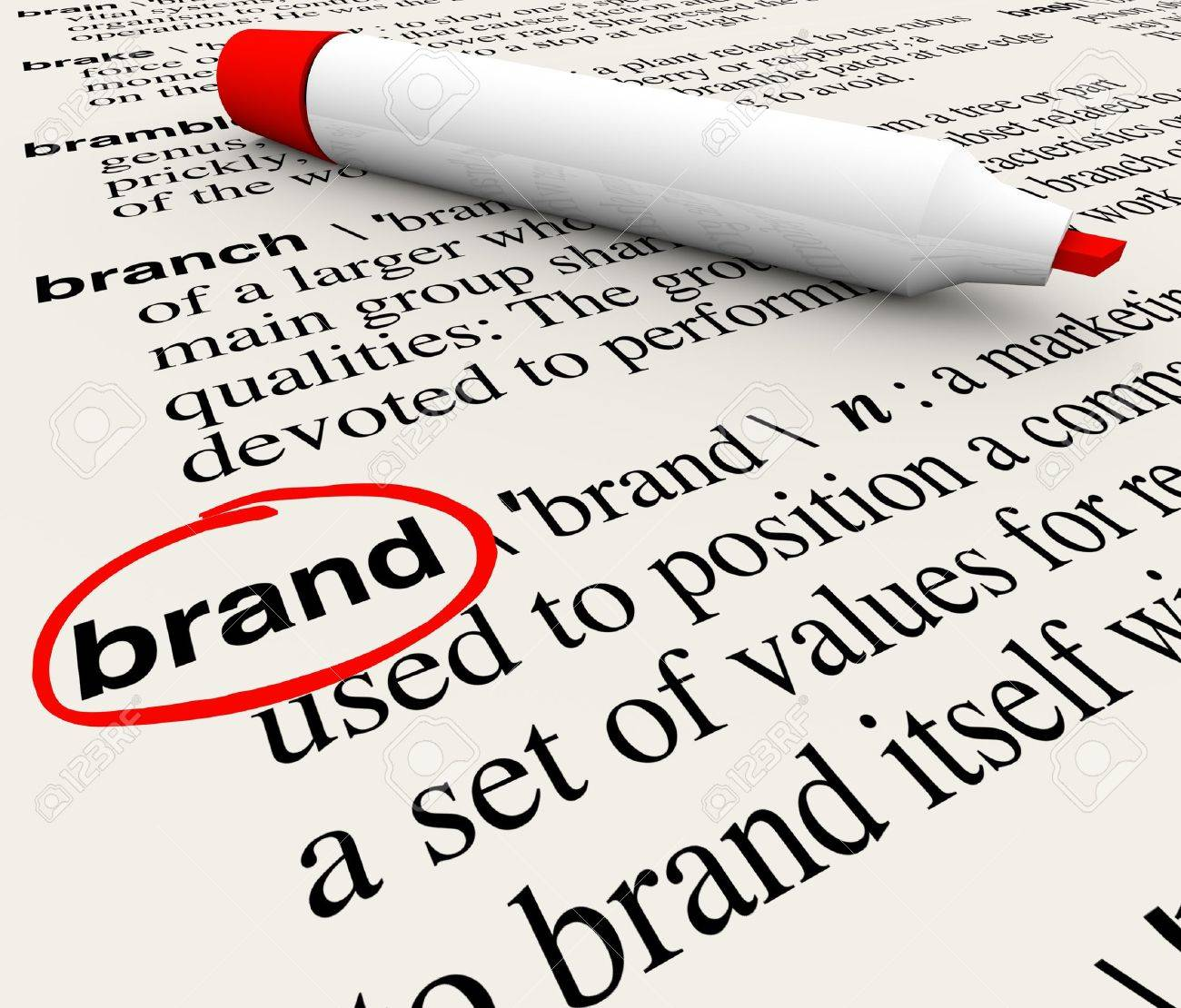 The word Brand defined in a dictionary with definition explained to emphasize awareness, branding, loyalty, identity and value - 14783250