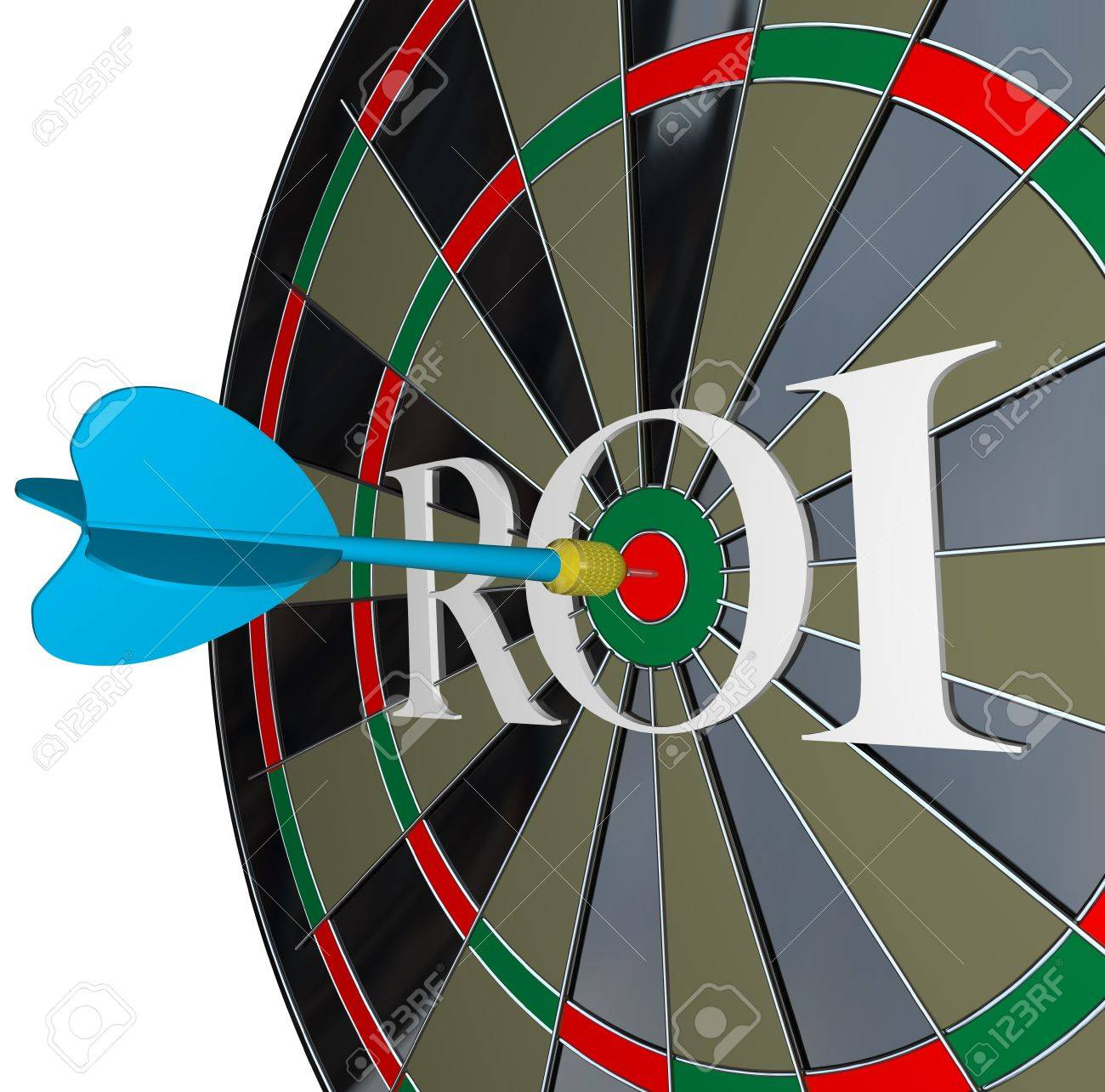 The letters ROI on a dartboard symbolizing return on investment and the profits and gains you can get from investing in stocks or saving your money with interest Stock Photo - 14877200