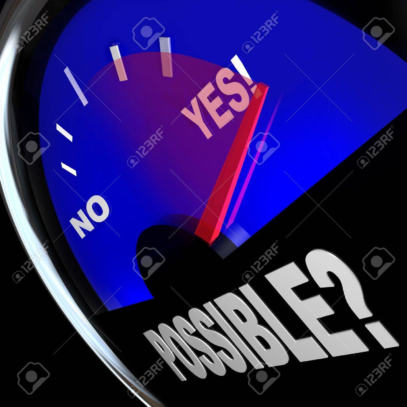 The word Possible on a speedometer with needle racing past No word to point to Yes, a successful outcome or answer to opportunity and possibilities in life, work or career Stock Photo - 14877201
