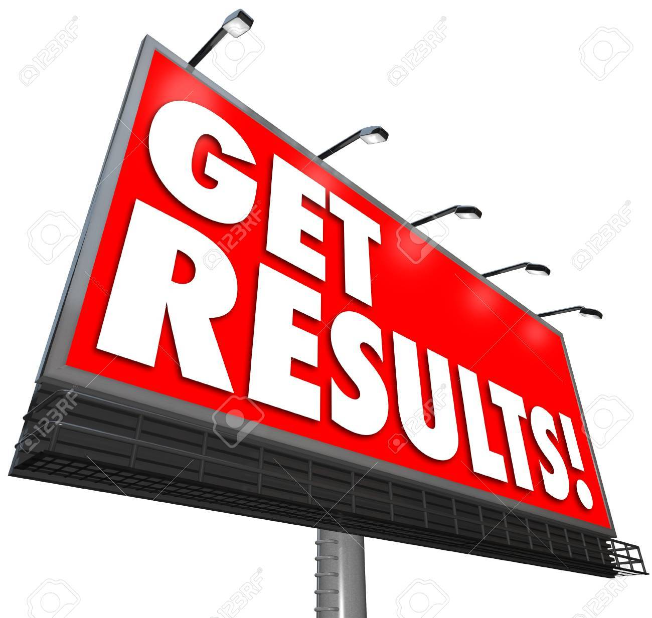 Get Results on a red billboard advertisement sign promising a guaranteed success in achieving a goal and implementing an effective strategy Stock Photo - 14877202