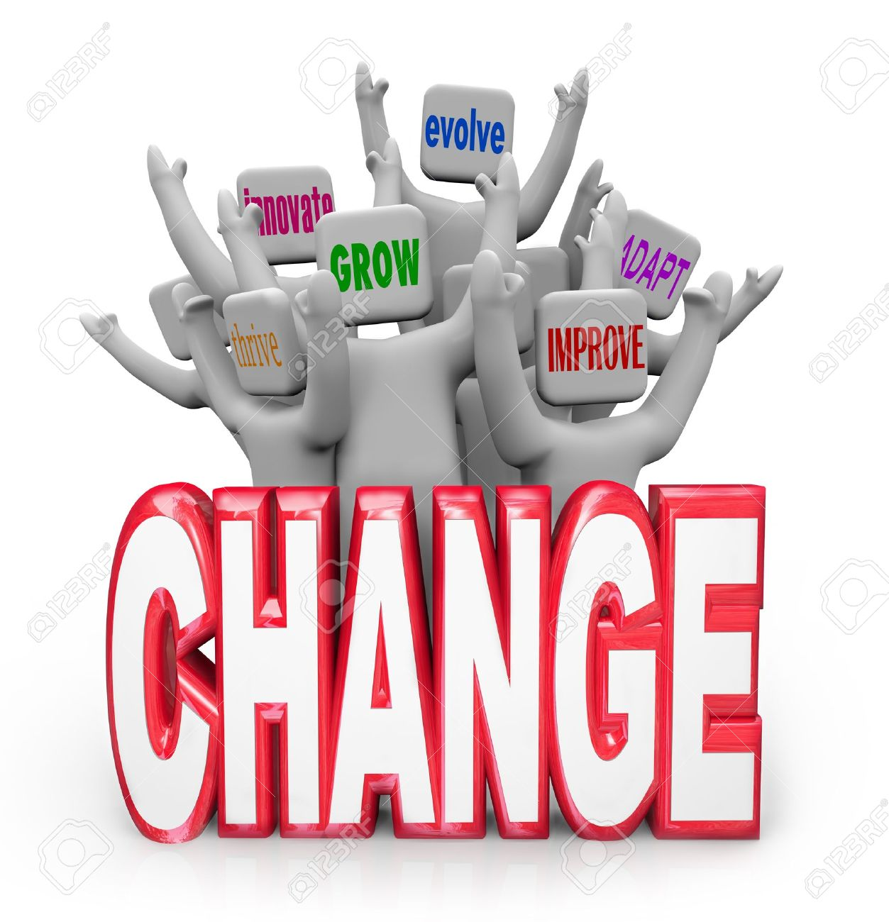 Un Equipo O Un Grupo De Gente Que Anima Detrás De La Palabra Cambio Cada Uno Con Un Diverso Término O Frase Que Representa La Adaptación Adaptarse