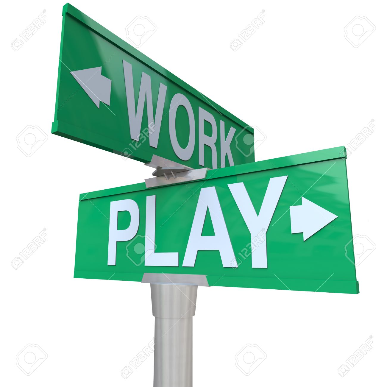 A green two-way street sign pointing to Work and Play reminding you to balance your life between career and relaxation through fun activities such as entertainment and vacation Stock Photo - 15252743