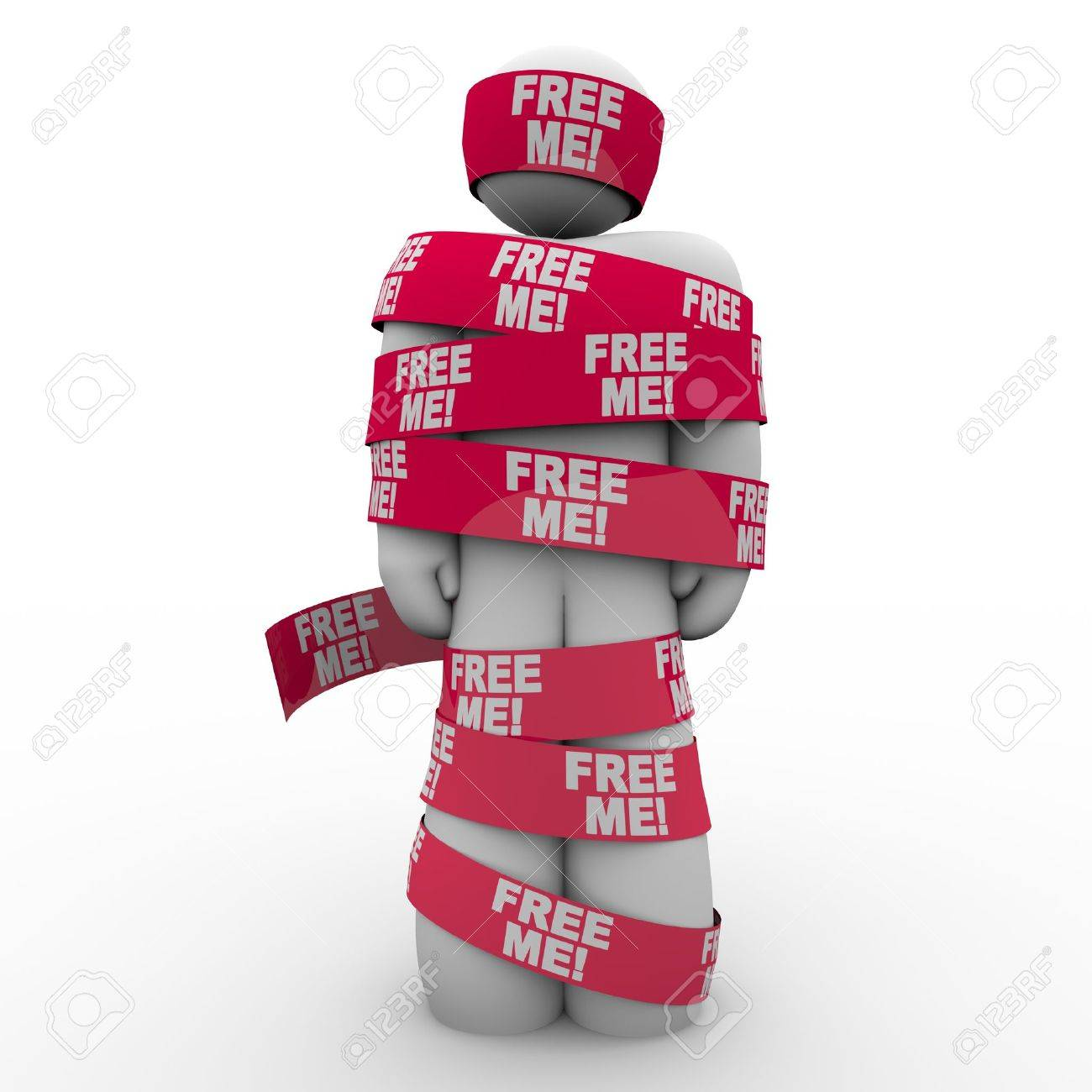 A man wrapped in red tape with the words Free Me to symbolize freedom and escaping from being trapped Stock Photo - 15252752