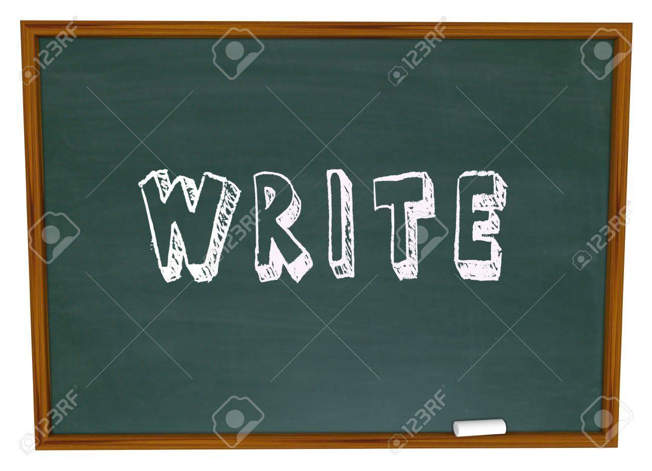 The word Write written in chalk on a school chalkboard Stock Photo - 15513403
