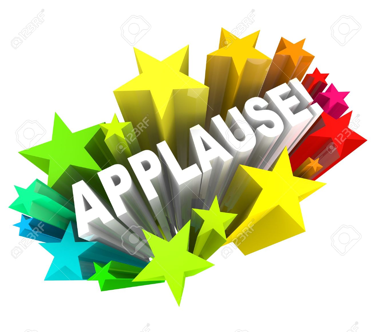 The word Applause surrounded by colorful stars to symbolize support, enthusiasm, approval, ovation,  or other positive reaction or feedback Stock Photo - 15513408