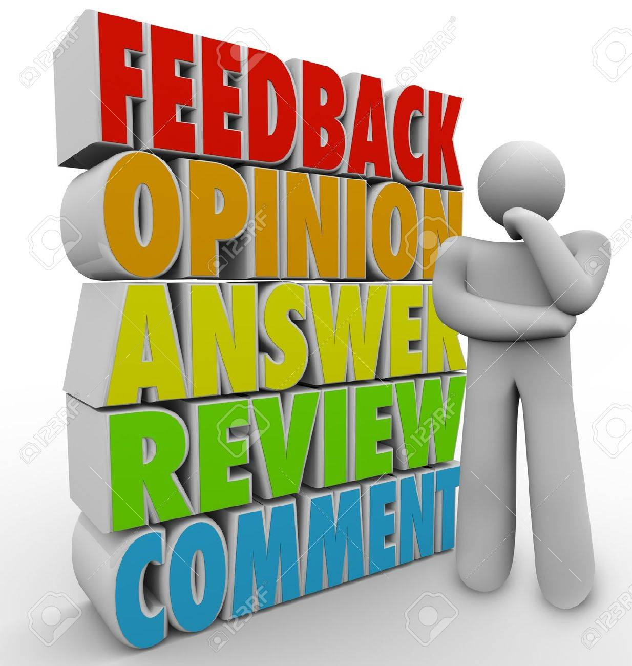 a man customer or other person thinks of his feedback comment a man customer or other person thinks of his feedback comment answer