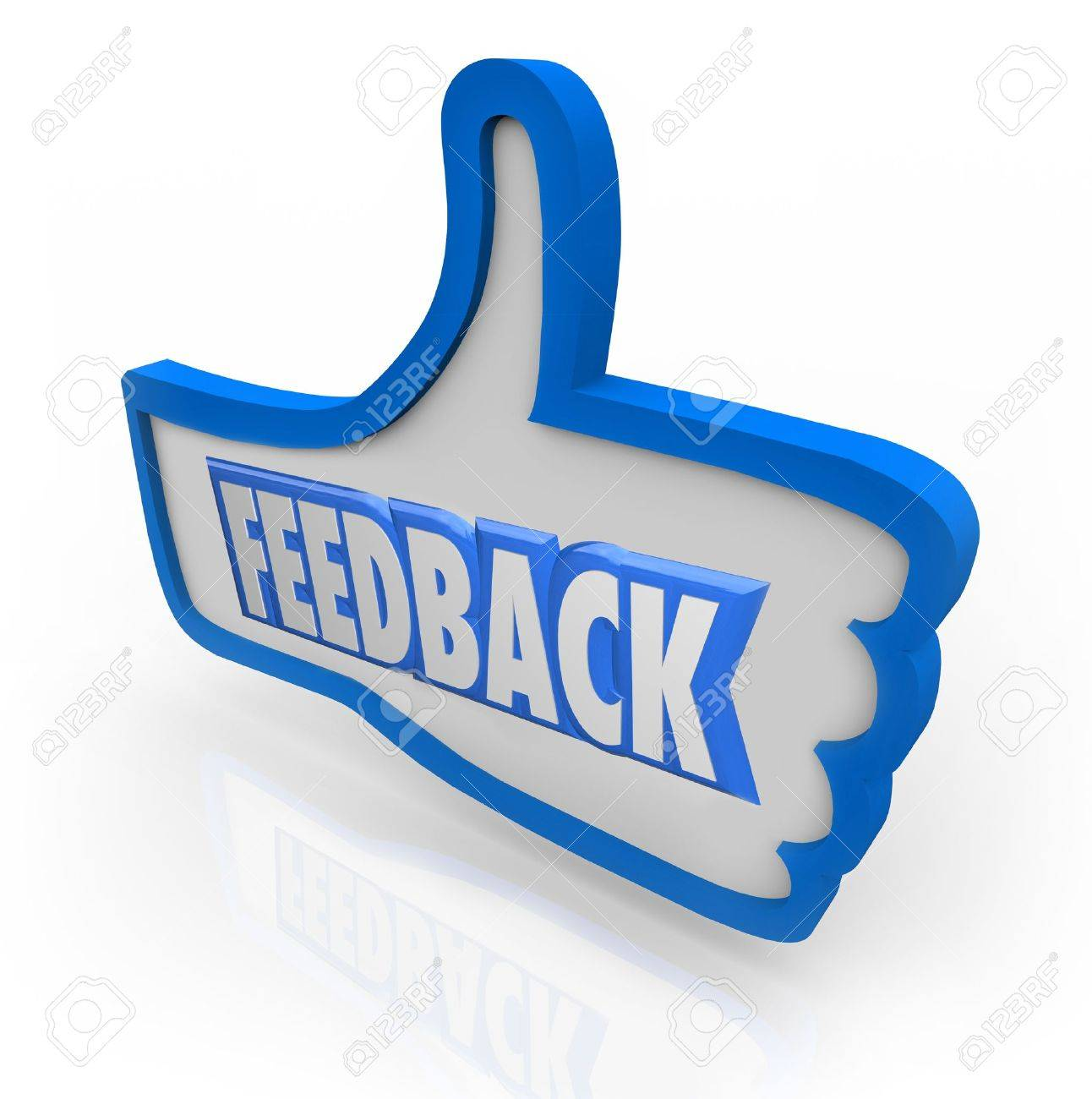 The word Feedback in a blue thumbs up indicating positive comments and opinions from customers and other people in your audience or circle of friends and family Stock Photo - 15749175
