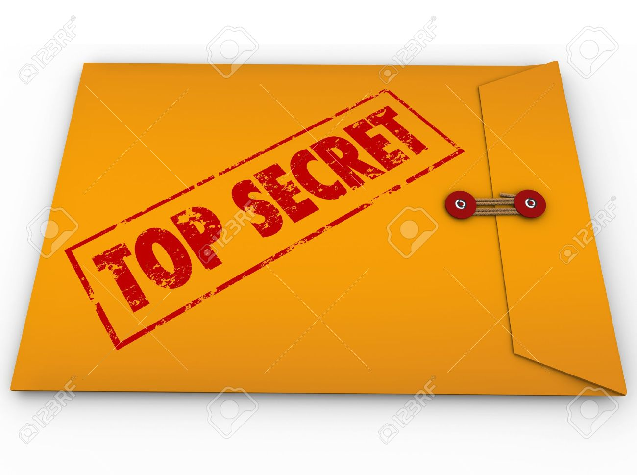 A yellow envelope with a red stamp with the words Top Secret conveying that the information inside is a secret, private, confidential, restricted message Stock Photo - 15749205