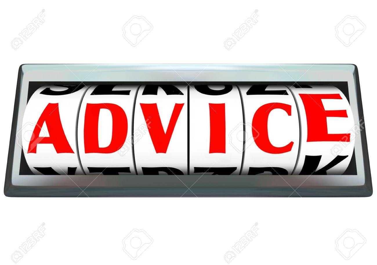 The word Advice on an odometer with letters on the dials to indictae communication, directions, instructions, message, opinion, viewpoints, recommendations or consulting Stock Photo - 15749208