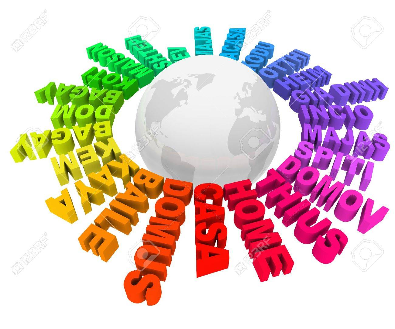 The Word Home In Many Different Languages And Colors Around The - Languages on earth