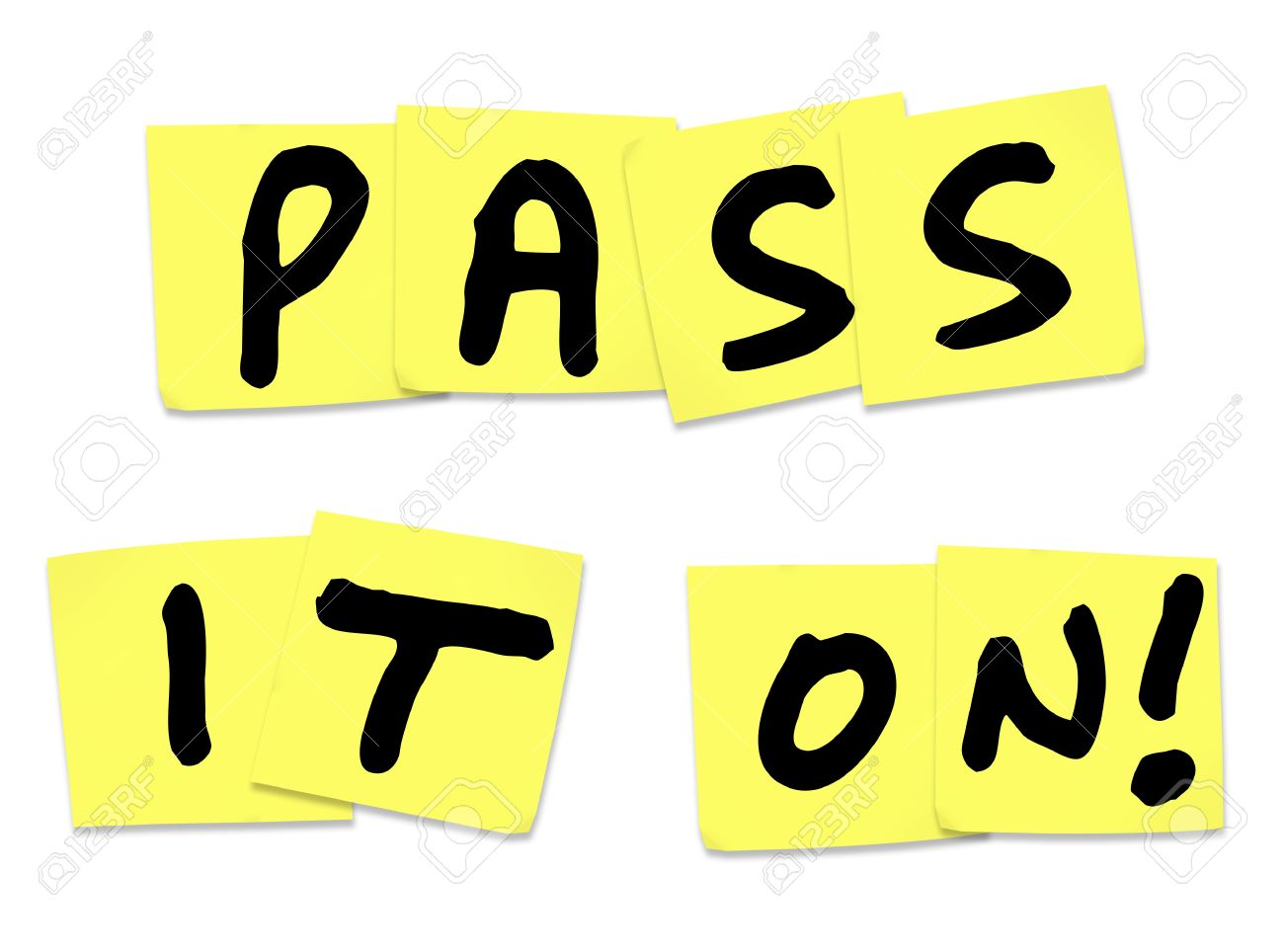 The words Pass It On written on yellow sticky notes to illustrate a piece of news, update, alert, information, communication and message spreading to a larger group Stock Photo - 15830533
