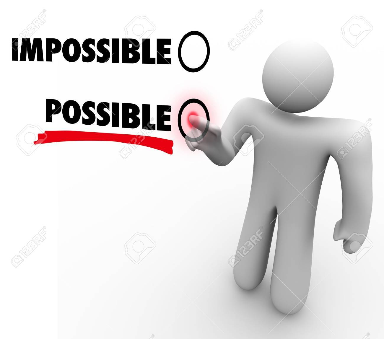 A man votes for Possible instead of and versus Impossible by pressing a button beside the word on a touch screen, demonstrating a positive attitude Stock Photo - 15967227