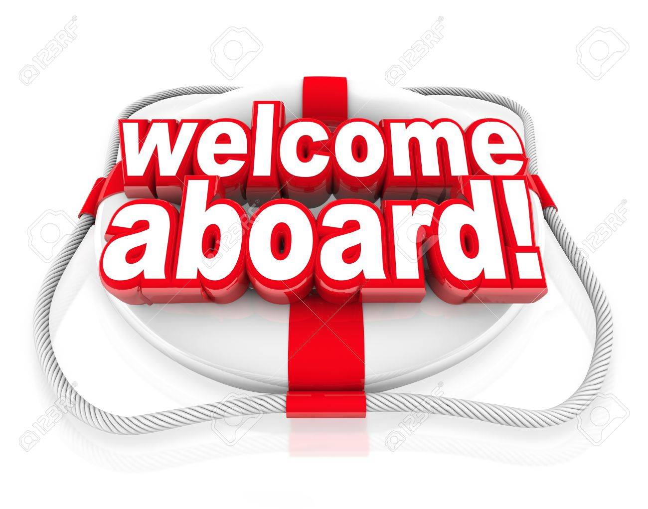 Welcome aboard words on a white and red life preserver to greet stock photo welcome aboard words on a white and red life preserver to greet you with a friendly greeting welcoming gesture and team initiation m4hsunfo