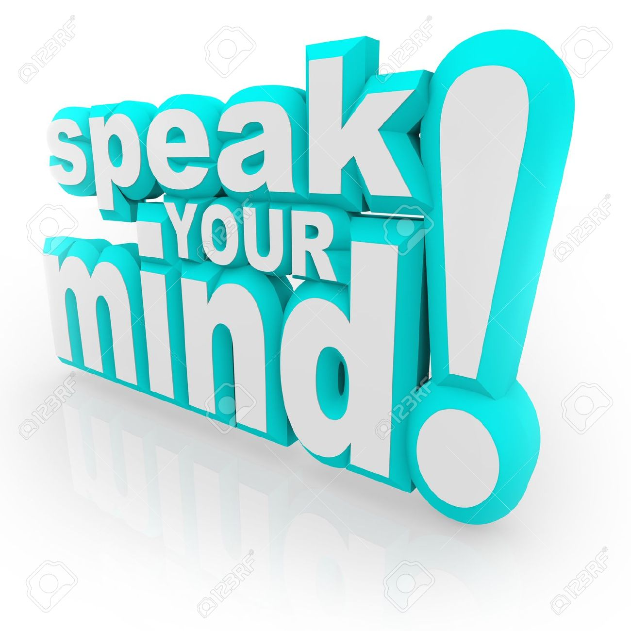 The words Speak Your Mind in 3d letters encouraging you to provide feedback, opinions, thoughts, viewpoints, answers and judgements Stock Photo - 16066255
