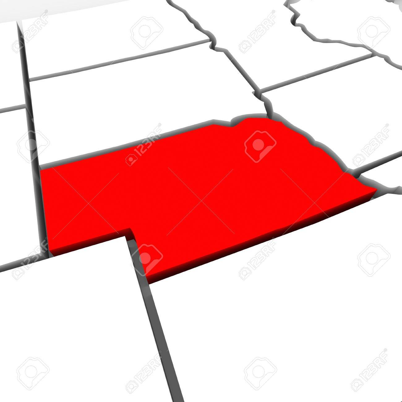 A Red Abstract State Map Of Nebraska A 3d Render Symbolizing Targeting The State To