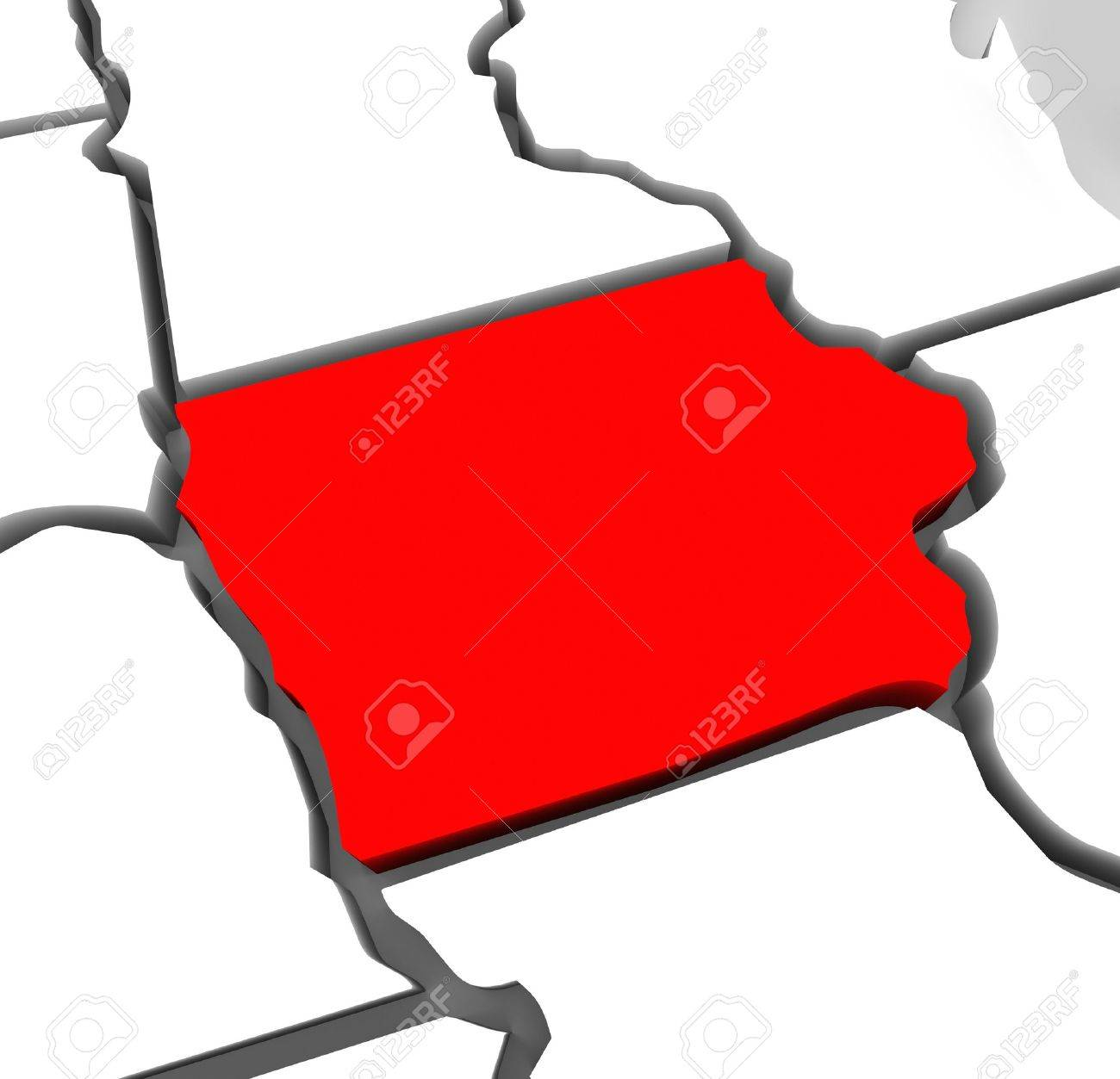 A Red Abstract State Map Of Iowa A D Render Symbolizing - United states map iowa