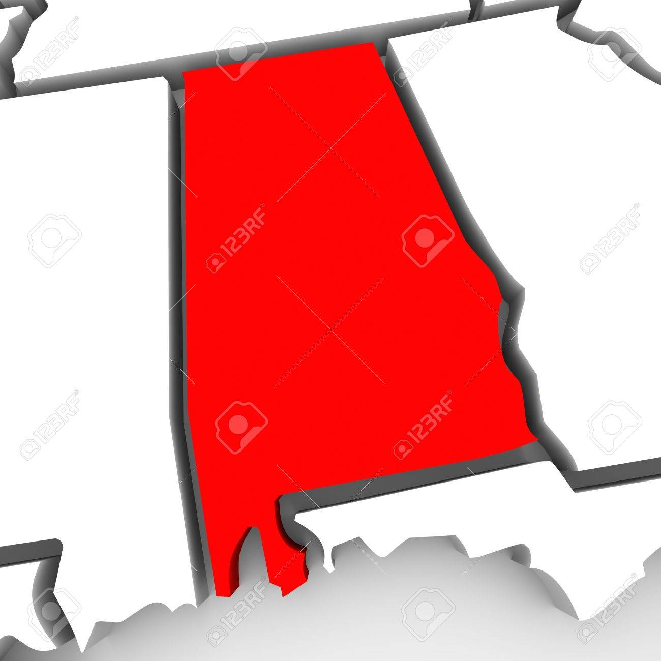 A Red Abstract State Map Of Alabama A D Render Symbolizing - How to color the united states map