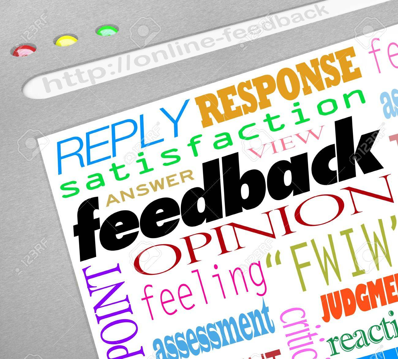 A website screen showing an online survey for collecting feedback, opinions, answers and viewpoints from customers or audience members Stock Photo - 16356822