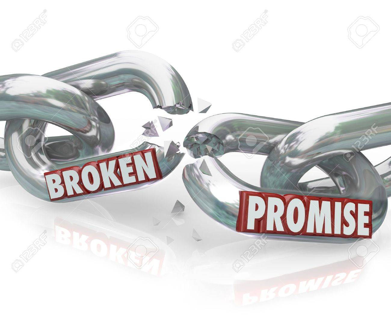 The words Broken Promise on chain links breaking apart to symbolize unfaithfulness, violation, mistrust, lies, deceit, deception and wronging a partner, spouse or significant other Stock Photo - 16683451