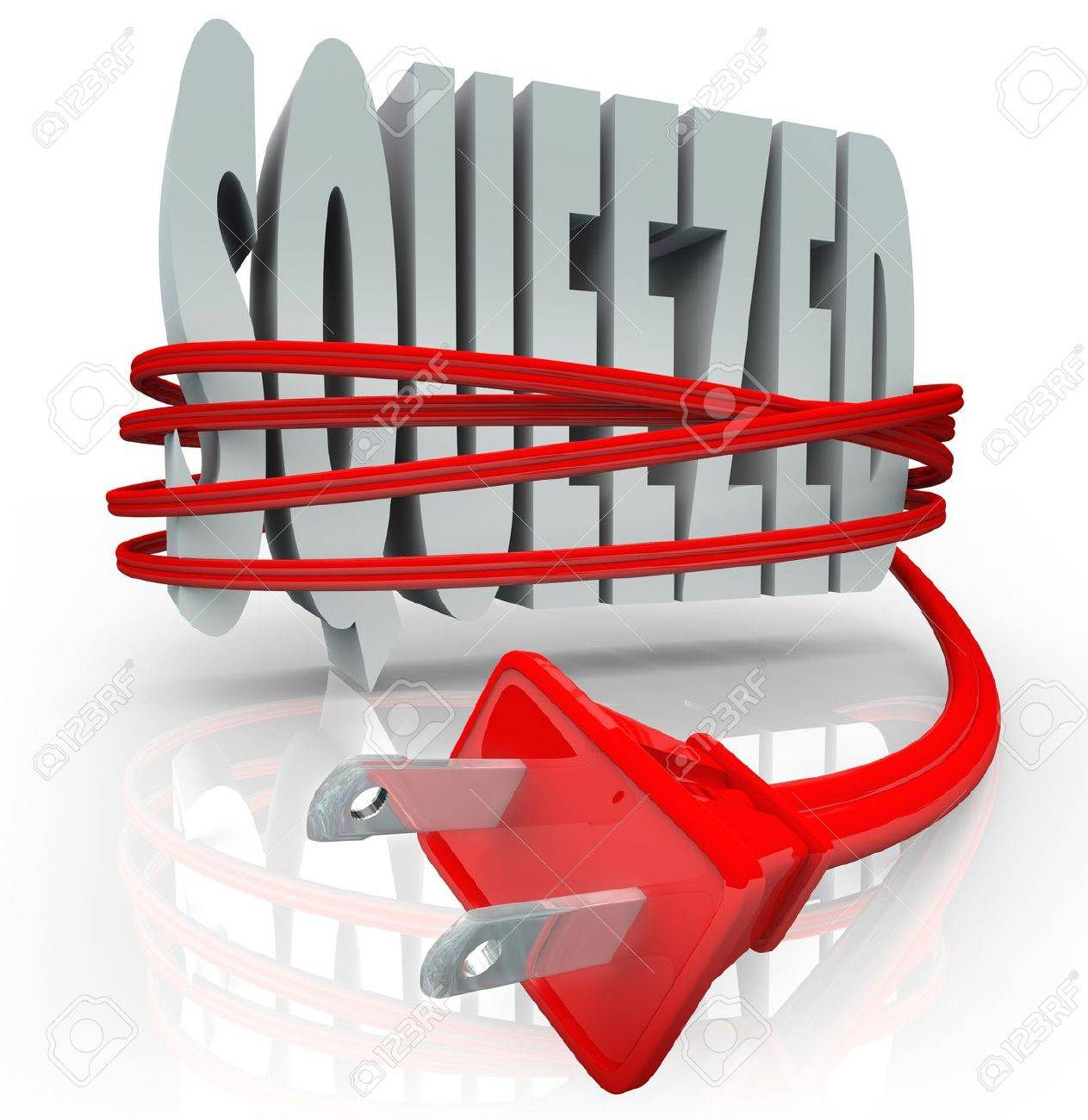 The word Squeezed is strangled by a red electrical cord and plug to symbolize the inflation effects of rising energy and power costs on a household or business budget Stock Photo - 16802269