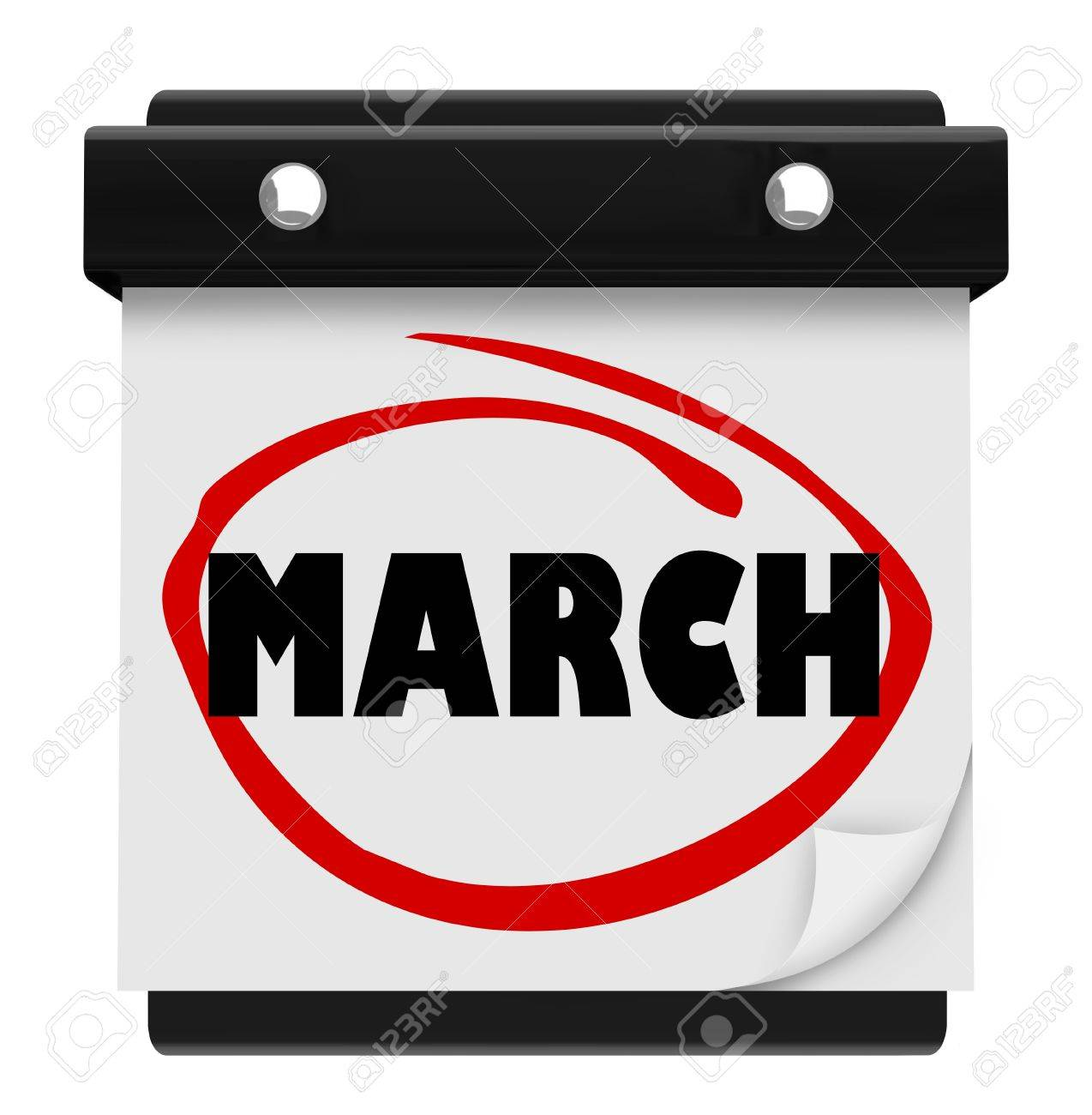 The word March on a wall calendar to remind you of important events during the winter month and turning into Spring, also Easter time Stock Photo - 16885465