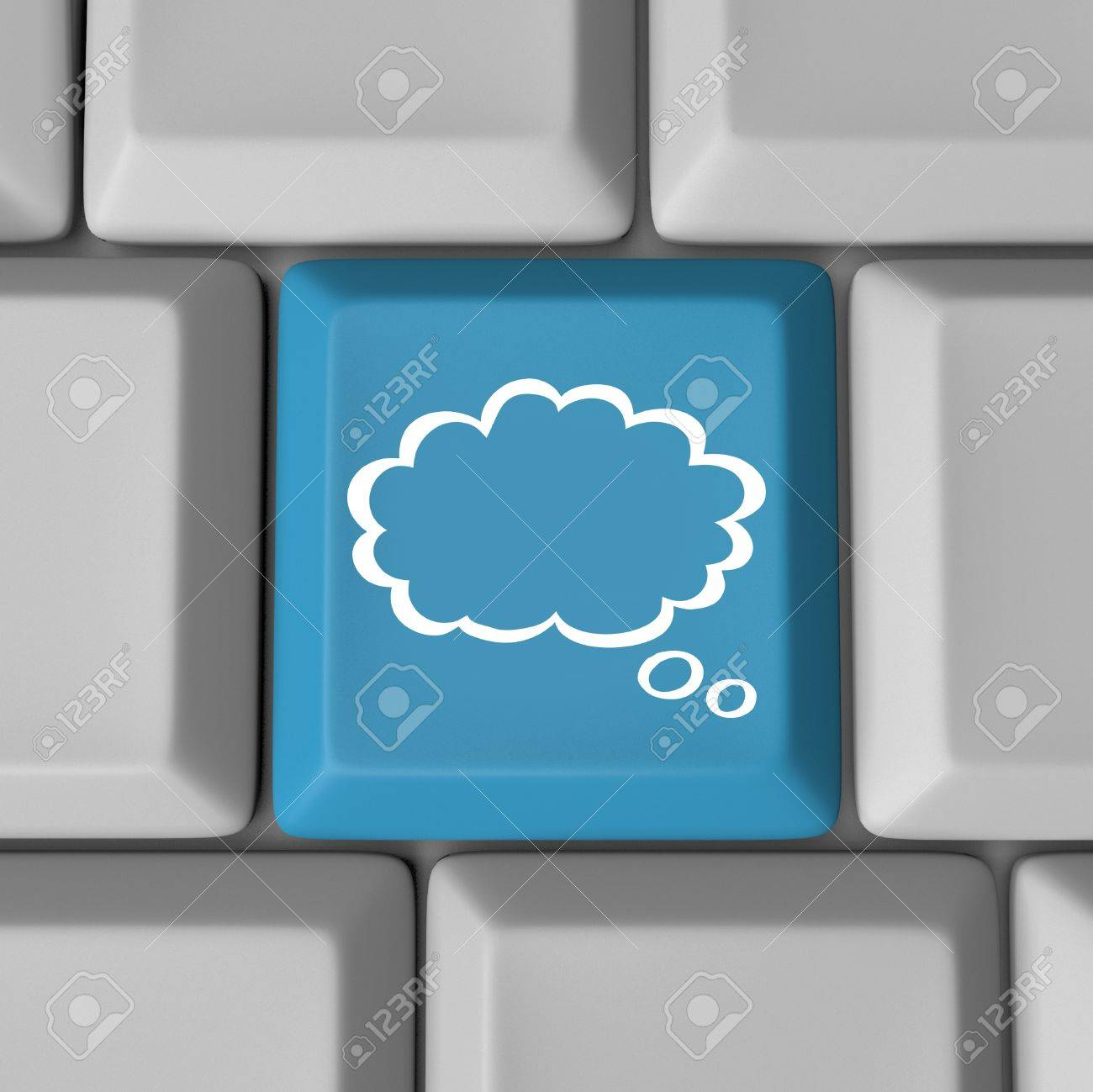 A blue computer key with a cloud to symbolize inspiration and creativity and ideas, or offsite storage of media files and applications - cloud computing Stock Photo - 16980233