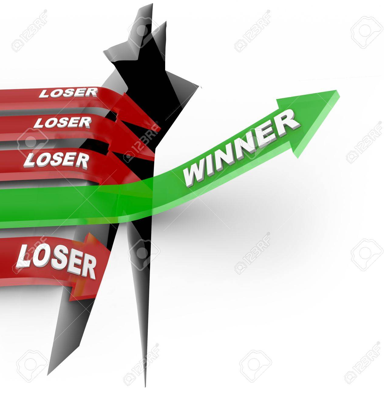 One green arrow with the word Winner Stock Photo - 17126351