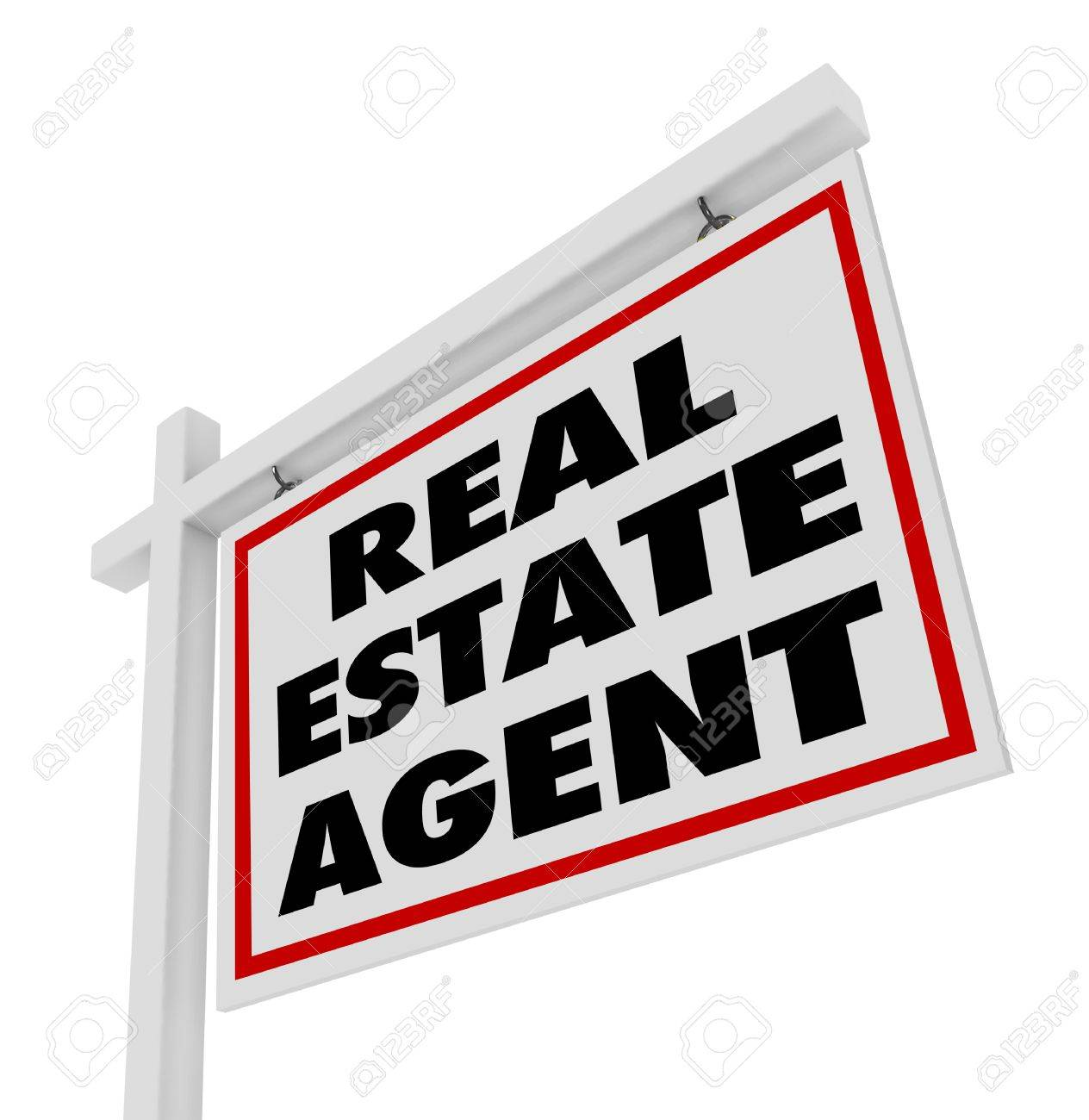 The Words Real Estate Agent On A Home Or House For Sale Sign ...
