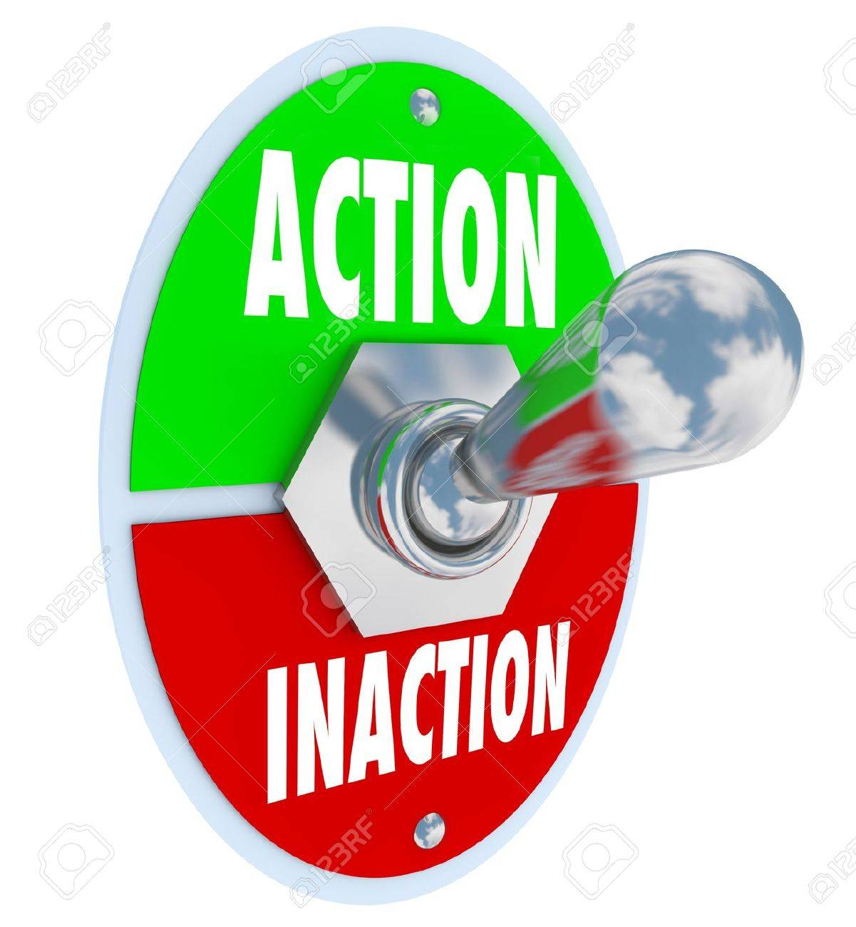 A metal toggle switch with plate reading Action and Inaction, with the switch in the active position to symbolize initiative, drive, and taking charge of a situation Stock Photo - 17232383