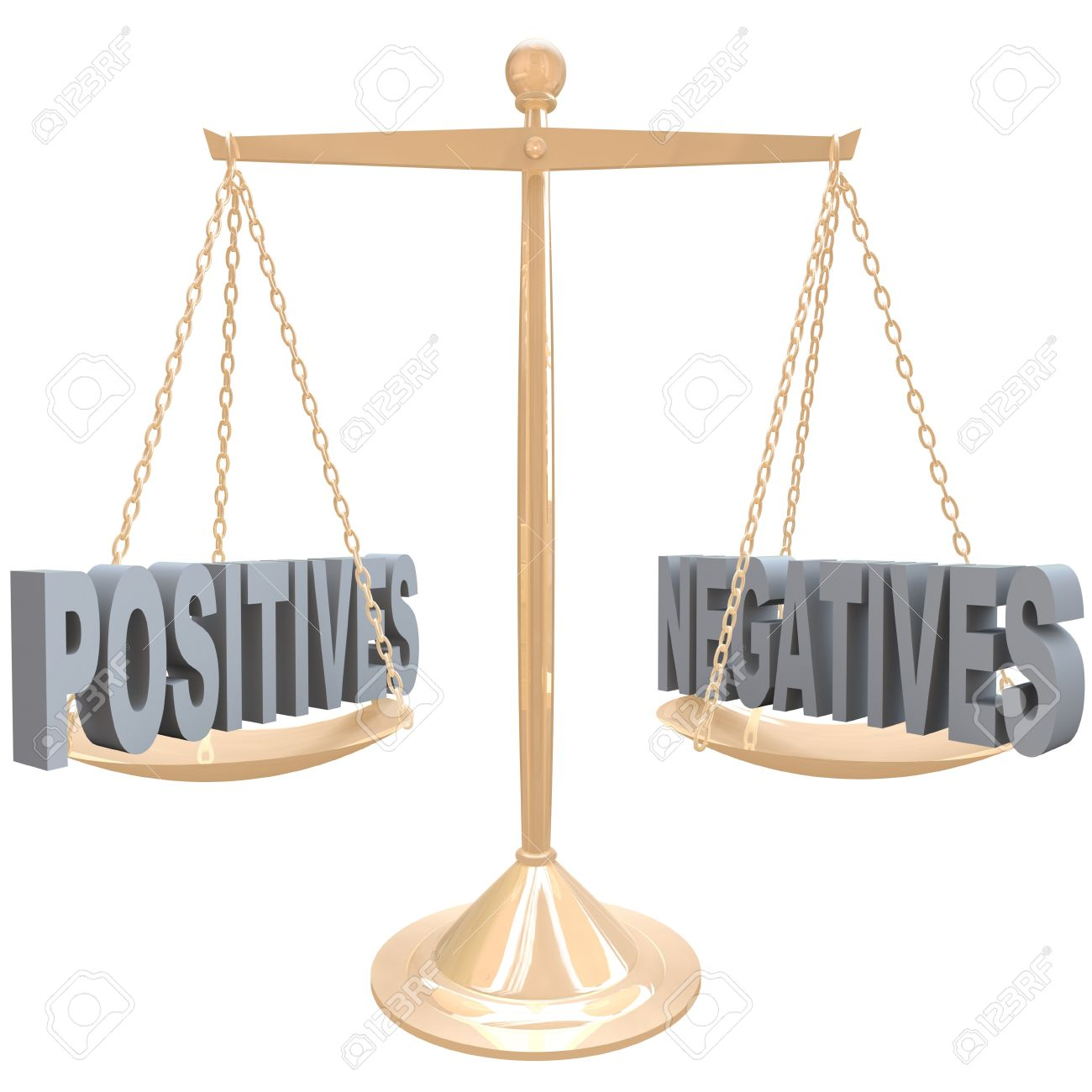 The words Positives and Negatives on opposite sides on a gold metal scale, symbolizing the comparision of differences between two choices or options Stock Photo - 17674093