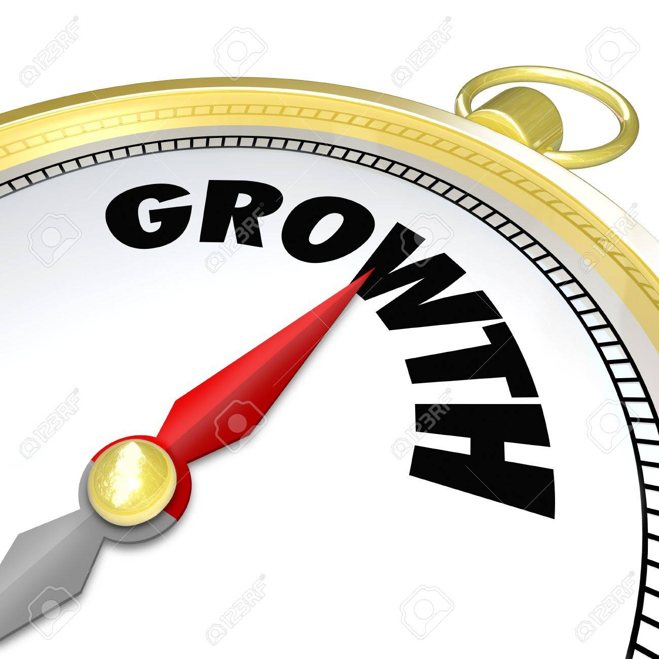 The Word Growth On A Gold Compass Symbolizing Advancement ...