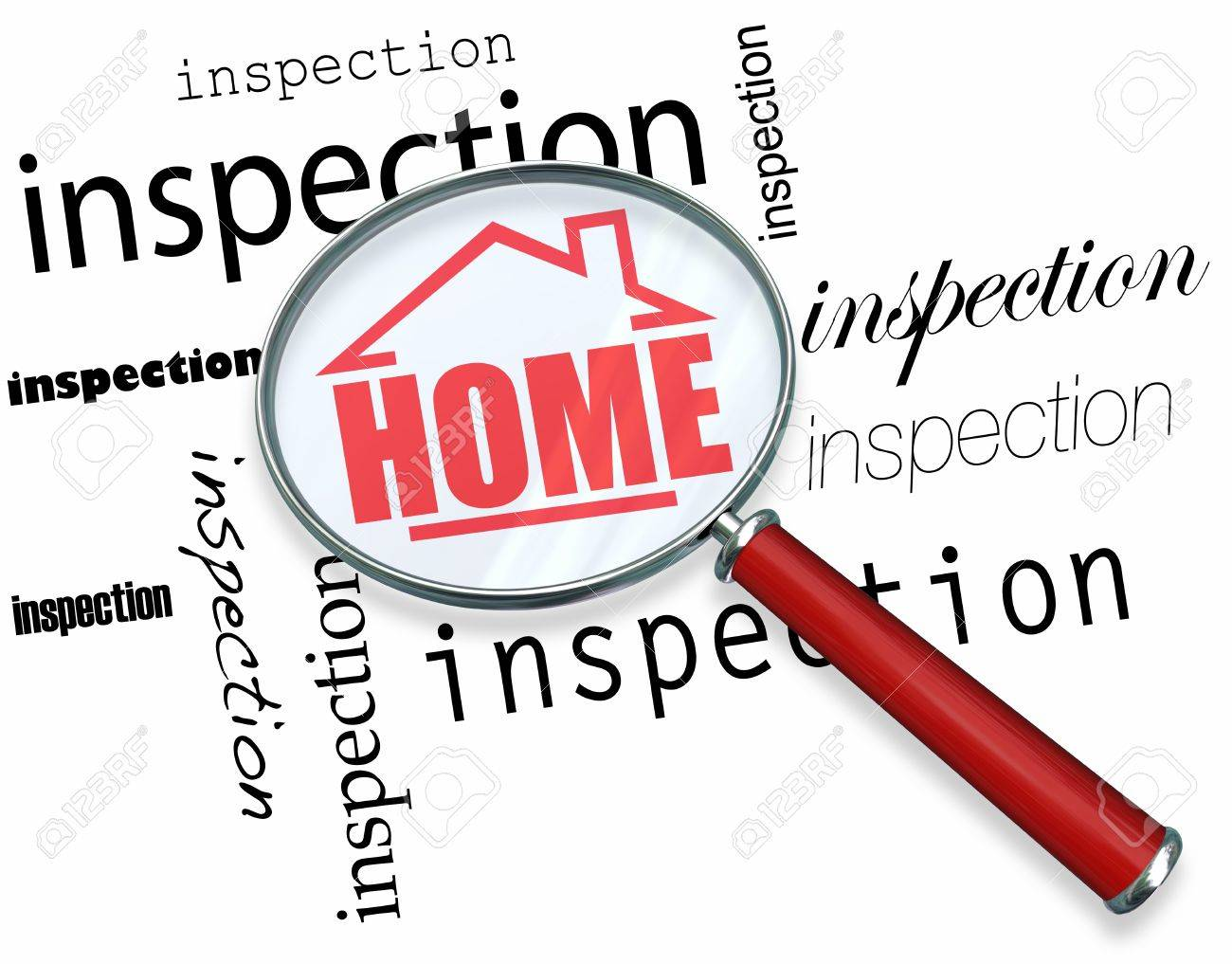 A magnifying glass hovering over the words Inspection, centering on a house with the word Home inside it Stock Photo - 17674256