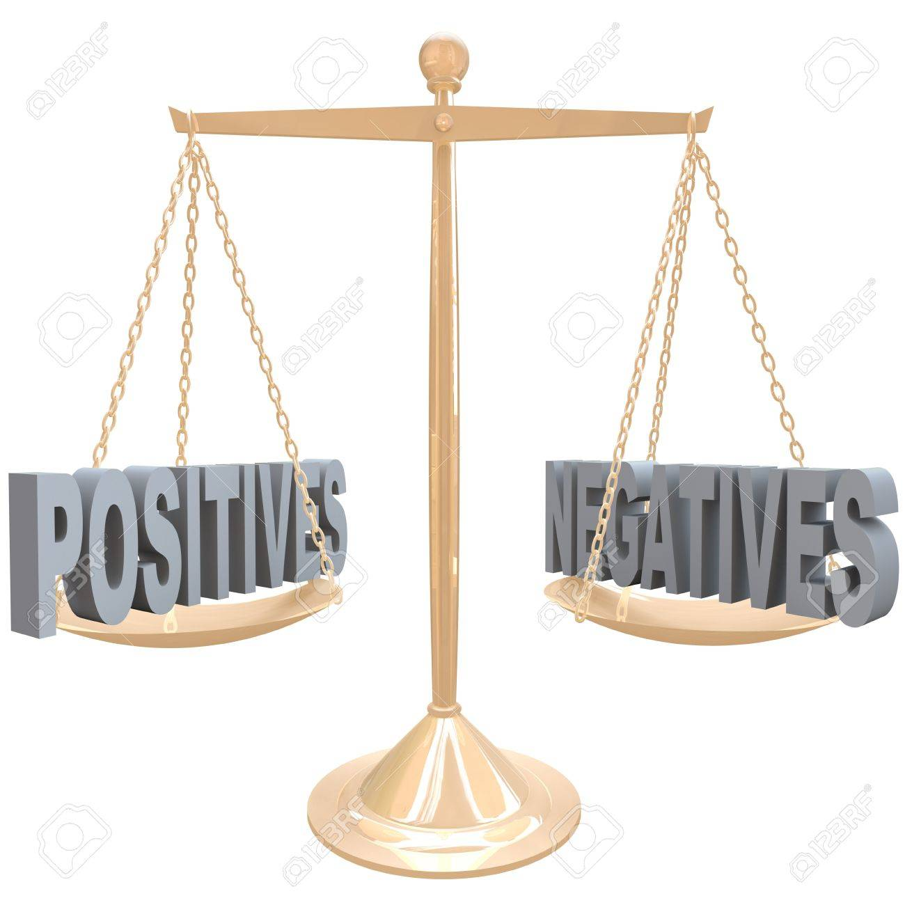 The words Positives and Negatives on opposite sides on a gold metal scale, symbolizing the comparision of differences between two choices or options Stock Photo - 17674141