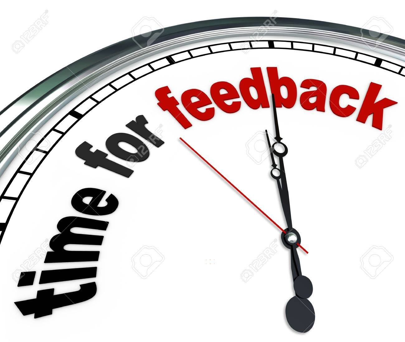 The words Time for Feedback on an ornate white clock, showing that it is time to collect input and responses in a question and answer session during a meeting or other group event Stock Photo - 17674135