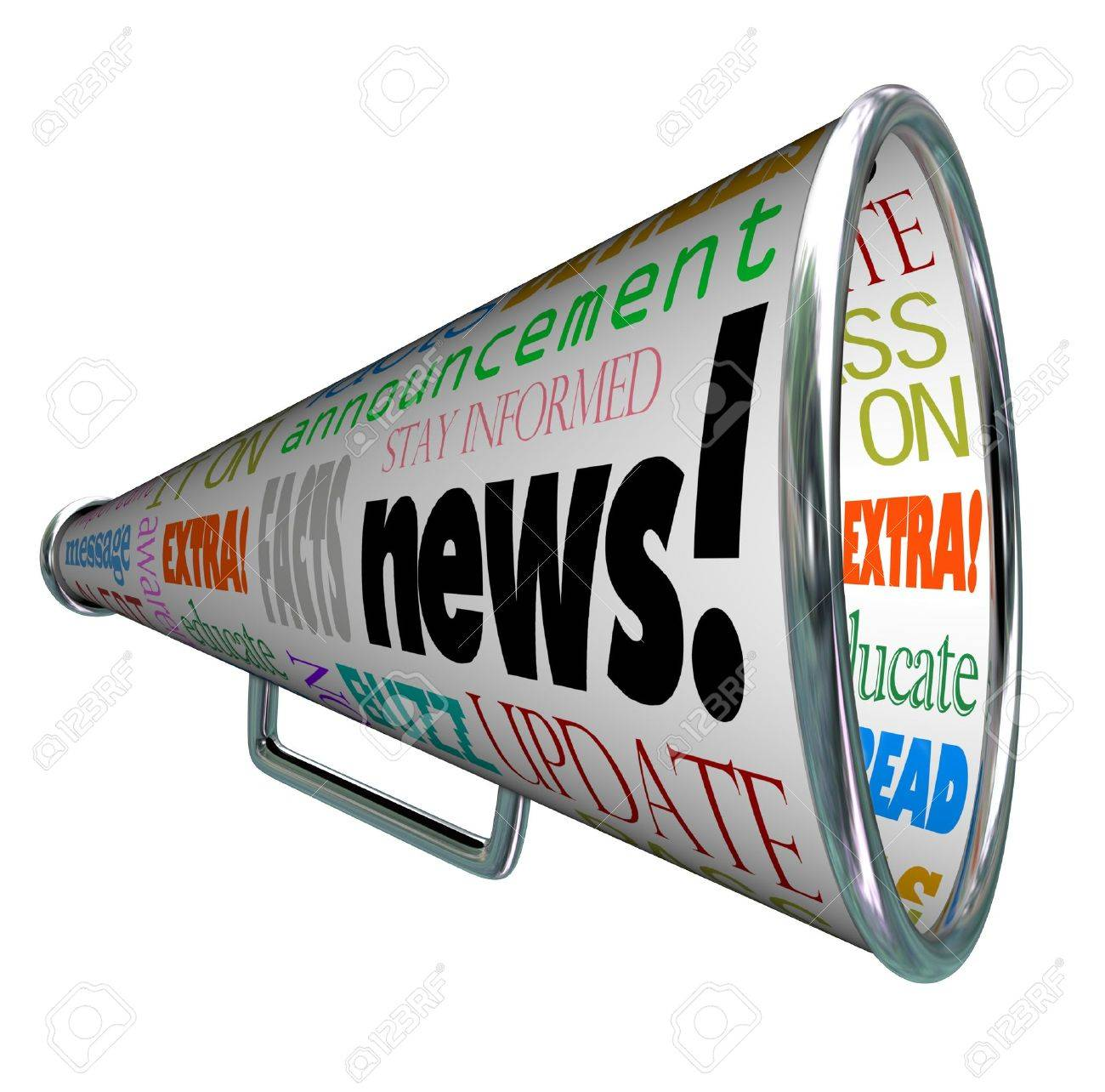 The word News on a megaphone or bullhorn and many associated words such as extra, message, update, alert, awareness, buzz and more Stock Photo - 17674247